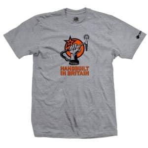 T-Shirt Orange Bikes Handbuilt in Britain  S/M